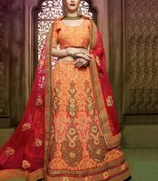 Buy multicolor embroidered georgette unstitched lehenga choli bridal-lehenga online