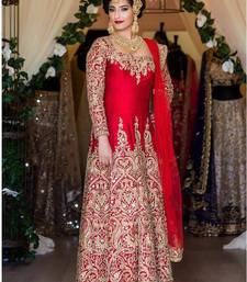 Buy Red silk semi stitched salwar with dupatta anarkali-salwar-kameez online