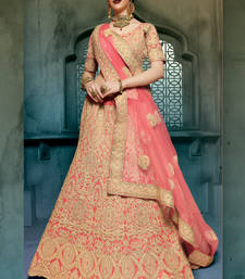 Buy red embroidered georgette unstitched lehenga choli bridal-lehenga online