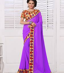 Buy Purple embroidered georgette saree with blouse below-1500 online