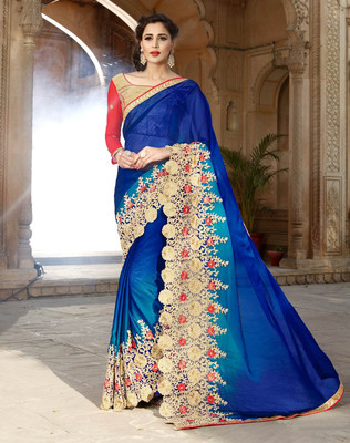 Blue Embroidered Georgette saree