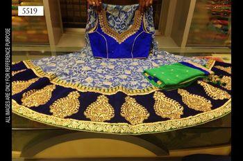 Blue and green designer net lehenga choli