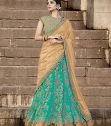 Buy green embroidered net unstitched lehenga bridal-lehenga online