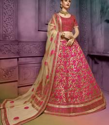 Buy Beige net heavy embroidered lehenga choli bridal-lehenga online