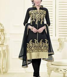 Buy black embroidered chanderi unstitched salwar with dupatta black-friday-deal-sale online