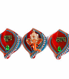 Buy Designer set of acrylic shubh labh ganesha sticker hanging diwali-decoration online