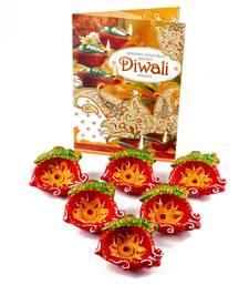 Buy Set of 6 earthen diyas with diwali card diya online
