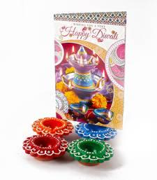 Buy Set of 4 earthen diyas with diwali card diwali-gift online