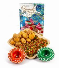 Buy Diwali greeting card and diwali diya hamper with apricot touch mouth freshener tray diwali-dry-fruit online