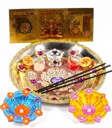 Buy Diwali thali and earthen diya with gold plated lakshmi note diwali-gift online