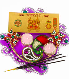 Buy Acrylic diwali thali with metal tealight diya included gold plated lakshmi note diwali-gift online
