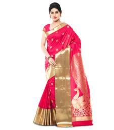 Buy Pink woven art silk saree with blouse paithani-saree online