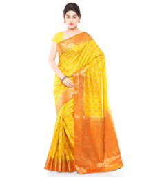 Buy Mustard woven art silk saree with blouse art-silk-saree online
