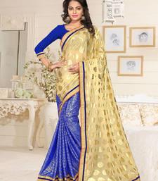 Buy Cream plain lycra saree with blouse half-saree online