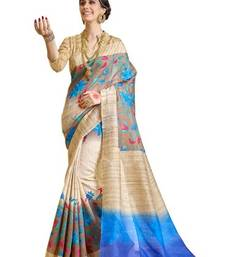 Blue printed bhagalpuri silk saree with blouse shop online