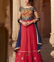 Buy Red embroidered georgette salwar diwali-salwar-kameez online
