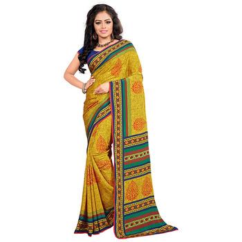 Dark yellow printed crepe saree with blouse