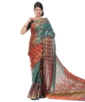 Sky blue woven super net saree with blouse