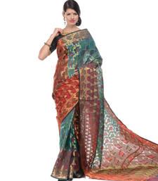 Buy Sky blue woven super net saree with blouse supernet-saree online