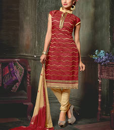 Buy Crimson embroidered chanderi salwar ethnic-suit online
