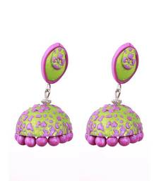 Buy Green purple polymer clay jhumkas terracotta-jewelry online