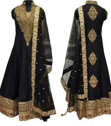 Buy Black embroidered cotton silk semi stitched anarkali salwar suit with dupatta black-friday-deal-sale online