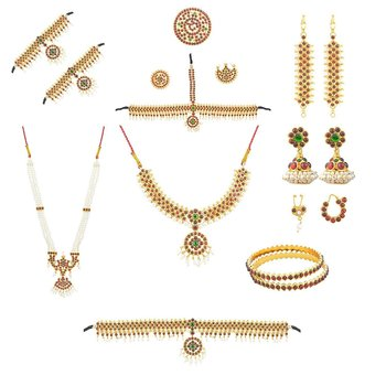 Complete set Bharatanatyam Jewellery with all the 10 separate ornaments Made with Green and Red quality Kemp stones