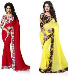 Buy Multicolor plain georgette saree with blouse sarees-combo-sari online