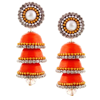 Paper Quilling Orange Handcrafted Triple Jhumka