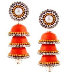 Buy Paper Quilling Orange Handcrafted Triple Jhumka jhumka online