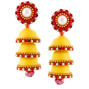 Yellow Handcrafted Paper Quilling Triple Jhumka