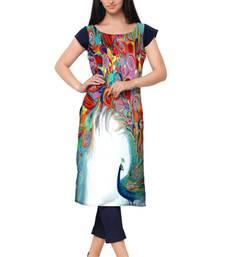 Buy Multicolor Faux Crepe printed stitched kurti pakistani-kurti online