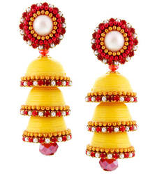 Buy Yellow Handcrafted Paper Quilling Triple Jhumka jhumka online