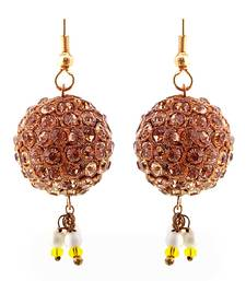Buy Handmade Brown Lakh Ball Jhumka Set hoop online