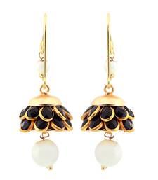 Buy Halwoishes Black n Golden Ethnic Rajasthani Brass Earrings hoop online