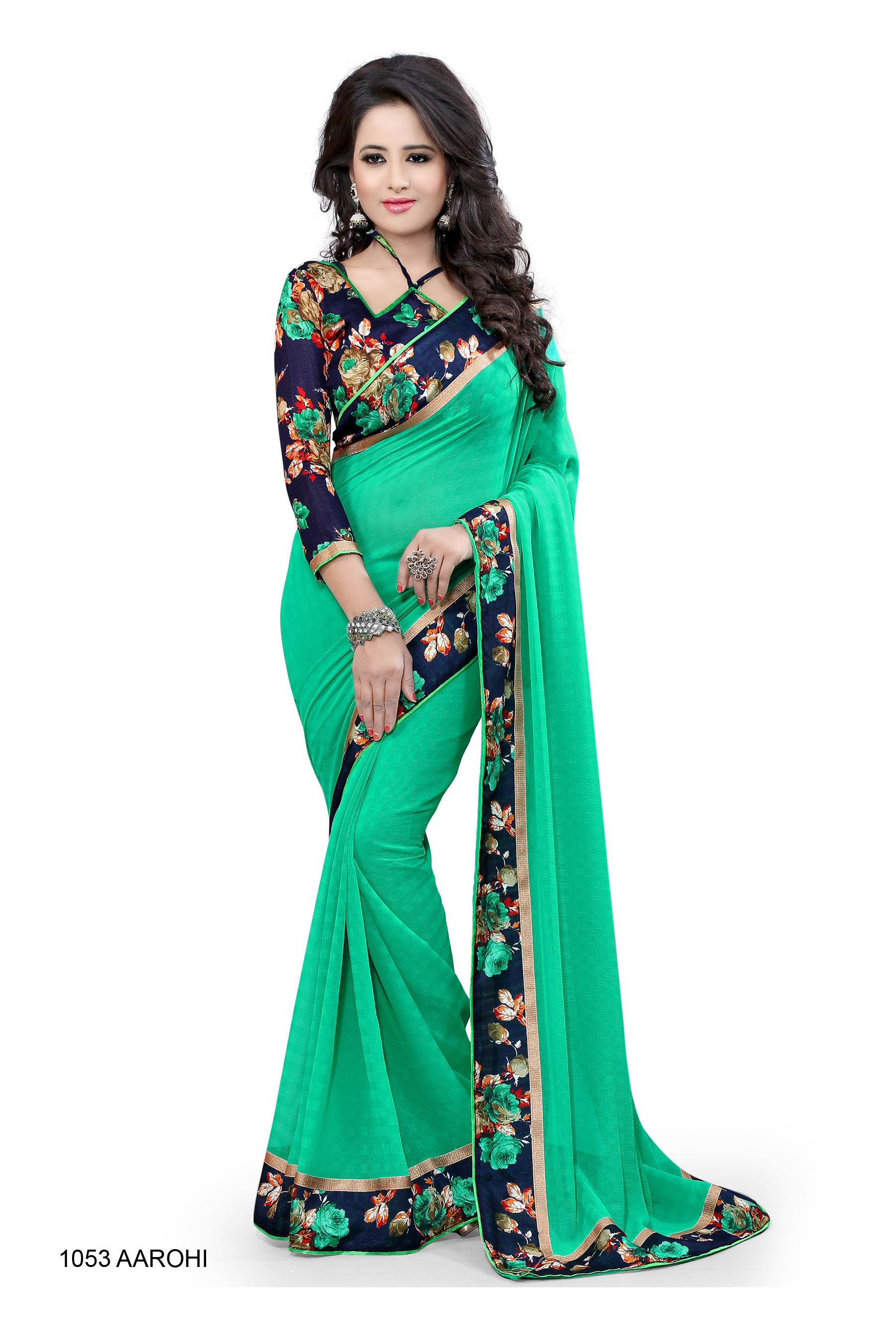 Buy C Green printed bhagalpuri silk saree with blouse Online