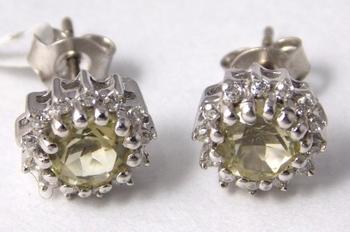 Yellow Topaz Sterling Silver semi precious gemstone earrings