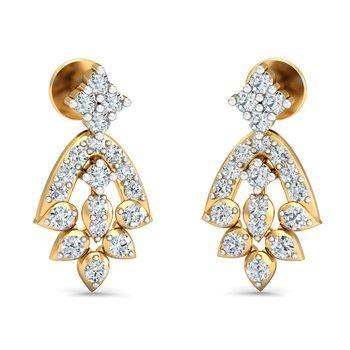 0.34ct diamond danglers drops 18kt gold earrings