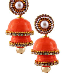 Buy Orange teracotta and dokra jhumkas jhumka online