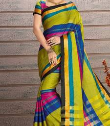 Buy Multicolor embroidered cotton saree with blouse cotton-saree online