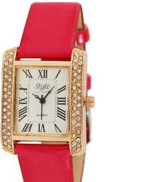 Buy New Stylist Leather Strap pink colour watch arrival watch online