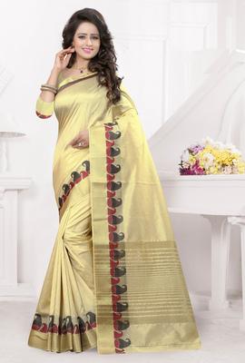 Cream printed banarasi silk saree with blouse