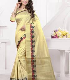 Buy Cream printed banarasi silk saree with blouse south-indian-saree online