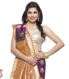 Buy Violet, Orange, and Gold exquisite Silk Saree with Rich Zari Pallu gifts-for-mom online