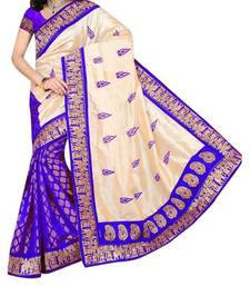 Buy blue printed bhagalpuri silk saree with blouse below-400 online