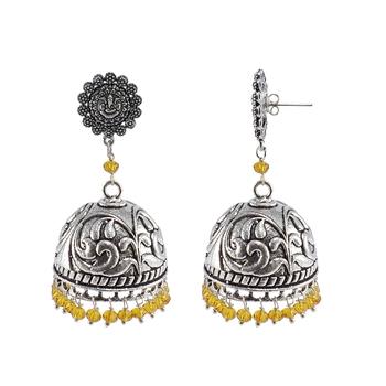 Religious Ganesha Jhumki With Citrine Crystals-Antique Silver Polished Jhumka-Punjabi Wedding jewellery