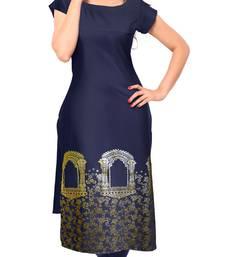 Buy Blue plain crepe stitched kurti diwali-kurti online