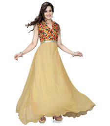 Buy Beige georgette printed semi stitiched party wear gowns party-wear-gown online