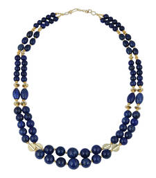 Buy   Impeccable round, rice, drum shaped dyed lapis lazuli gem ston... gemstone-necklace online