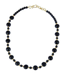 Buy   Alluring coin, faceted round shaped black agate gem stone bead... gemstone-necklace online